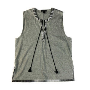 J Crew Gray Knit Tank Top With Embroidered Trim